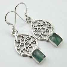 HANDCRAFTED !! 925 Pure Silver GREEN APATITE Jewel ONLINE BUY Earrings 3.9 CM