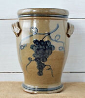 """Rowe Pottery Hand-Crafted Tan Blue 2005 Wine Cooler 10"""" Crock MINT"""