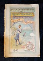 London & South West 1907 Normandy and Brittany Railway Timetable C. J. Owens