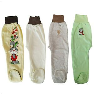 Baby Infant Boys Girls Trousers with feet Pants 100% Cotton 9-12 Months