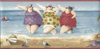 Wallpaper Border Designer Whimsical Ladies at the Beach with Red Trim