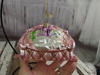 Polonaise kurt adler cat pink couch sleeping xmas tree ornament presents glass