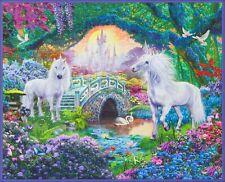 "35"" Fabric Panel - Robert Kaufman Digital Picture This Unicorn Fantasy Scene"