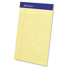 Ampad Perforated Writing Pad Narrow 5 x 8 Canary 50 Sheets Dozen 20204