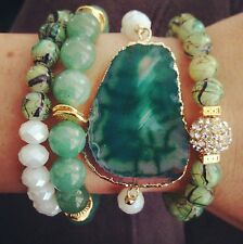 10 MIXED WHOLESALE LOT NATURAL GEMSTONE AGATE SLAB BRACELET STACK SETS JEWELRY