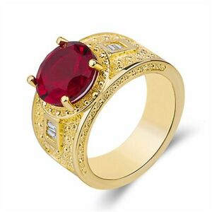 Mens Jewelry Deluxe Huge Blue Sapphire Alloy Gold Filled Gem Ring Gift Size 6-10