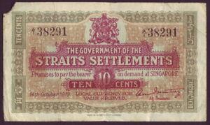 Straits Settlements • 1919 • Ten Cents (10c) Banknote