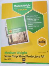 Marbig A4 Deluxe Silver Edge Sheet Protector - Clear - Box of 100