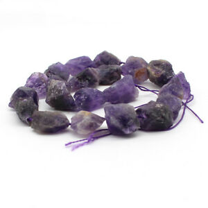 "15"" Natural Dark amethyst stone Freeform Bead 15-20mm Mid Drilled Jewelry DIY"