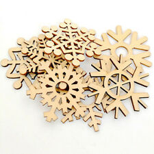 10Pcs Assorted Wooden Snowflake Xmas Wedding Tree Hanging Ornament Decor K