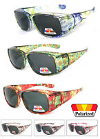 Womens Polarized FIT OVER Sunglasses Cover Rx Glasses Rhinestones Floral Prints