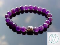 Buddha Amethyst Natural Gemstone Bracelet 6-9'' Elasticated Healing Stone Chakra