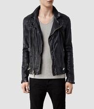 NWT All Saints Conroy Leather Biker Moto Jacket Black Ink Navy XS jeans coat