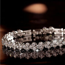 Luxury Roman Crystal Bracelet AAA Cubic Zircon Cluster White Gold Filled Bangles