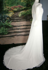 DESIGNER FAIRYTALE WEDDING GOWN SIZE 12-14 WHITE SHEATH COLUMN PEARLS SEQUINS