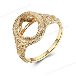 Oval 10x8mm Semi Mount Ring Nice Solitaire Solid 14k Yellow Gold Bezel Setting