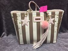 NEW! BETSEY JOHNSON  STAR STUDDED TOTE BLUSH PINK SPICE CREAM PURSE SATCHEL BAG