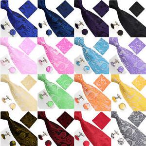 Men's jacquard silk Paisley business party formal Tie,Hanky & Cuff link set
