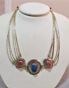 7 Strand Liquid Sterling Silver w/ Lapis & Pink Coral Necklace-Choker Signed QT