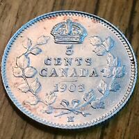 Almost Uncirculated (AU) CANADA 1903-H FIVE CENTS 92.5% Silver (5¢) Coin
