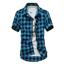 Men's Casual Shirt Short Sleeve Slim Fit Plaids Shirts Cotton Dress Shirts Tops