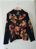 Indigo Moon Jacket Cardigan Autumn Brown  Flowers Size XS Womens Button Up