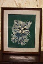 Quadro a mezzopunto raffigurante gatto con cornice e vetro 41 x 48