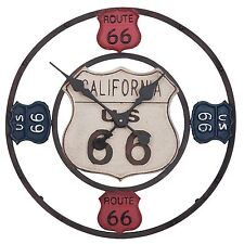 "Wanduhr Analog ""Route 66"" Metall Diner Bar Harley Biker Motorrad US-Highway 53cm"