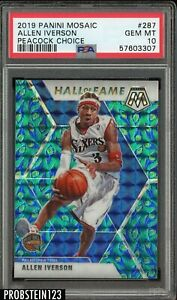 2019-20 Panini Mosaic #287 Allen Iverson Hall Of Fame Peacock Choice PSA 10 SSP