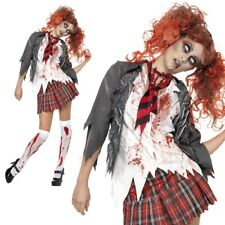 Ladies High School Zombie Schoolgirl Halloween Fancy Dress Costume - 01- 32929 Large