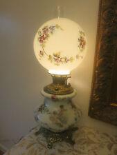 "VINTAGE/ANTIQUE PAINTED MILK GLASS GWTW BANQUET LAMP 25"" ROSES CHERUBS ANGELS"