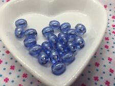 Pack of 20 lovely pale blue lustre oval glass beads, 8mm x 6mm