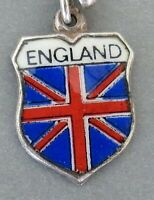 ENGLAND ~ UNION JACK FLAG ~ Vintage Silver Enamel Travel Shield Charm RARE