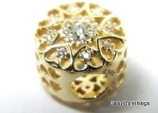 NEW! AUTHENTIC PANDORA CHARM HEARTS OF GOLD #750841CZ  HINGED BOX