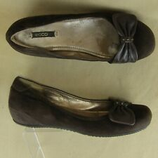 Ecco US 8.5 EU 40 Ballet Flat Bow Slipper Slip On Suede Leather Brown