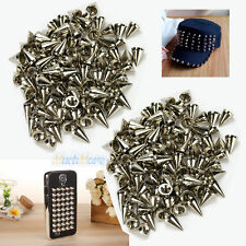 200Pcs 10mm Silver Spots Cone Screw Metal Studs Leathercraft Rivet Bullet Spikes