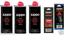 3 X Original Zippo Lighter Fuel Fluid Petrol   1 X Wick X 6 Flints UK SELLER