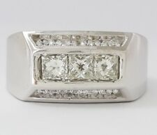 1.2 ct 14K White Gold Princess & Round Cut Diamond Fashion / Wedding Band Ring