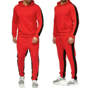 Men's jogger Tracksuit Casual 2 Piece Sport Pants Hooded Jacket Sweatsuit Set