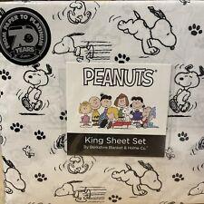 NEW Peanuts Snoopy KING Size Bed Sheet Set 4pc Black & White Paw Print Bershire