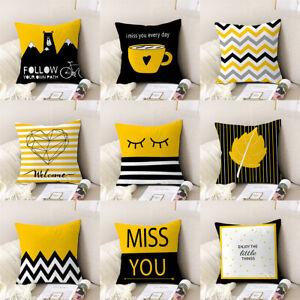 Yellow Black Geometric Waist Throw Cushion Cover Pillow Case Modern Indoor Decor
