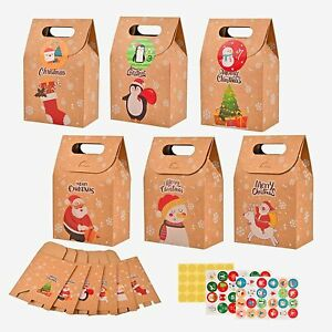 Christmas Bags 24 Pack Christmas Candy Bags with Transparent & Calendar Stickers