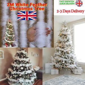 6Pcs 2M Christmas Tree White Feather Boa Strip Xmas Ribbon Party Garland Decor