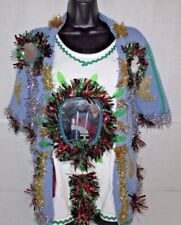 Mens Ugly TACKY Christmas Sweater 3X Lights Office Party Winner Skirt WOMENS