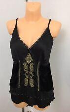 Ladies Mix Black Shiny Christmas Party Blouse Top Vest Size Plus UK 18 E-vie