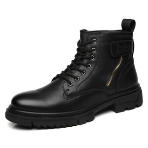 Retro Men's Round Toe Lace-up Business Leather Shoes Ankle Boots Large Size New