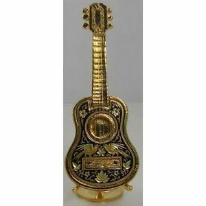 Damascene Gold Miniature Guitar with stand by Midas of Toledo Spain