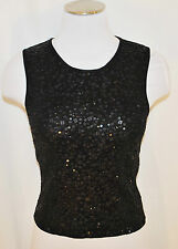 Black Laundry Body Hug Silk Stretchy Sequin Cocktail Shirt Blouse Tank Top P/S
