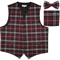 New Men's Plaid Tuxedo Vest Waistcoat & Bow tie Set Burgundy prom formal party