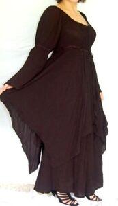 boho Gothic black peasant dress 8 10 12 14 16 18 20 22 24 26 alt style classic